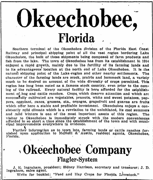 Old Okeechobee Newspaper Articles